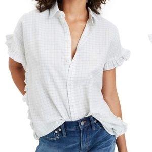 Madewell Windowpane Check Ruffle Shirt XS